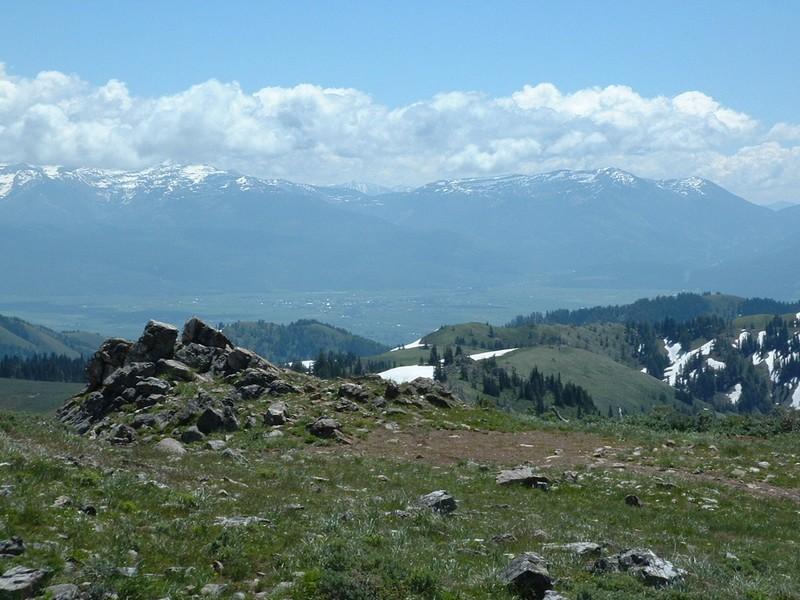 The summit of Garns Mountain looking east toward the Teton Range.