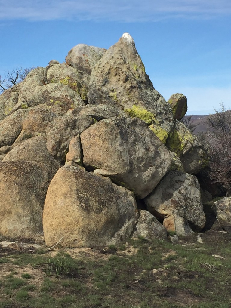 One of the many granite bouldering options found on the ridge. This one is a favorite site for raptors.