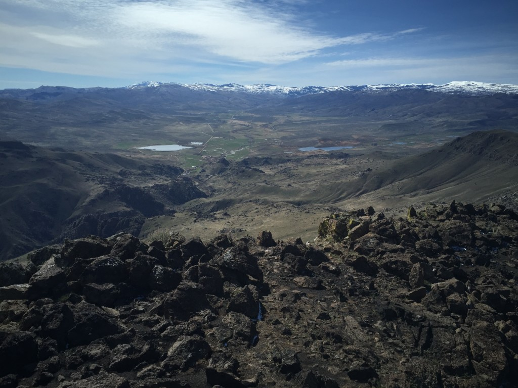 The view from the summit looking in to the Reynolds Creek drainage with the Silver City range on the skyline.