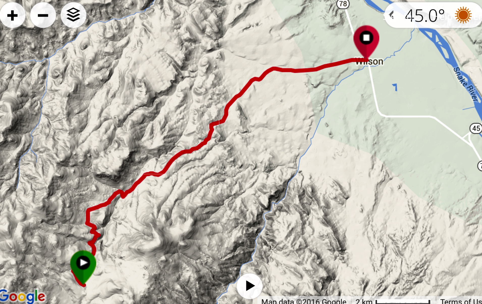 This GPS track shows the Wilson Creek Road to the pount it reaches the Wilson Peak Road.