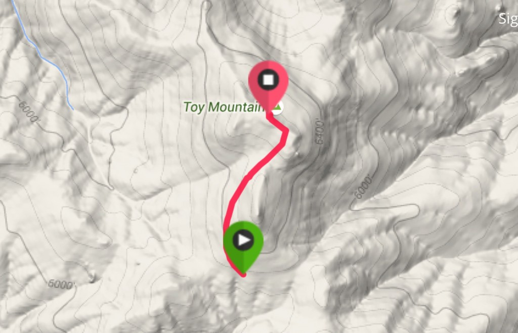 From the 4WD road on the south side of the peak, it is an easy 0.75 mile climb to the summit.