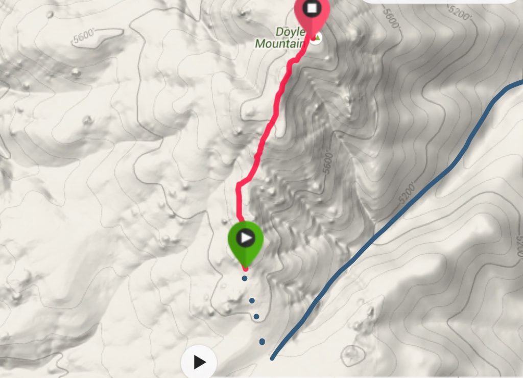 My GPS track. From the end of the 4WD road (blue dashes) it was 1.3 miles and 675 feet of elevation gain to the summit. The blue line is the access road.