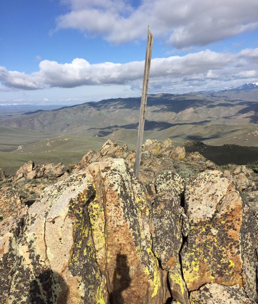 The summit of Doyle Mountain. Thanks to Jon Fredland there is now register on ththe summit.