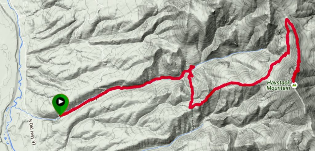 Steve Mandela's GPS track. Steve's route coverd 15 miles round trip and gained 4,616 feet.