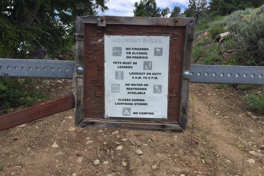 The rules for visiting the top are found on this sign.