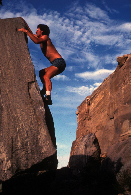 A young John Platt working the sharp edge of a classic mid-cliff Tablerock boulder. Tom Lopez