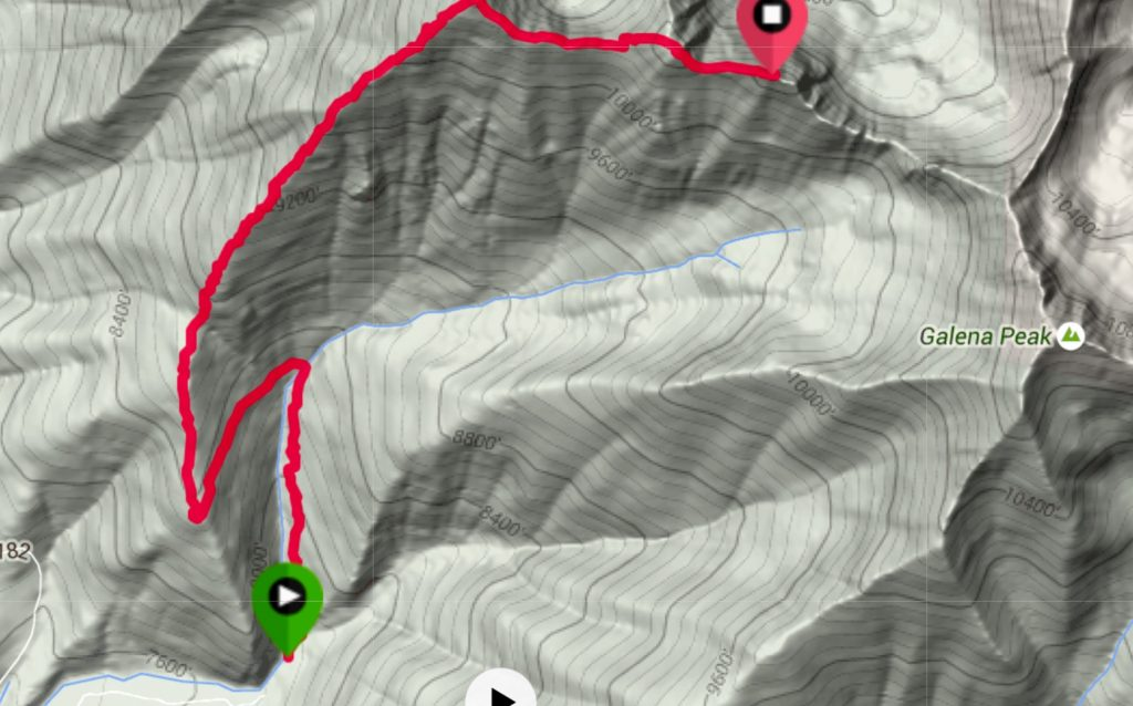 My GPS track for the Senate Ridge Route.