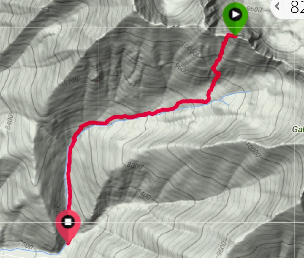 My GPS track for the south face route. Note this was my descent route.