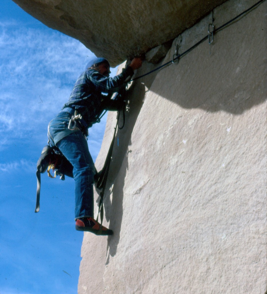 "Mike Weber doing a ""clean"" aid ascent of the ""Roof"" using only hexes and stoppers."
