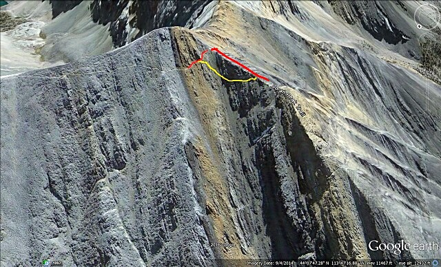 This ohoto shows the Standard Route over Chicken Out Ridge in red and the purported and dangerous shortcut in Yellow.