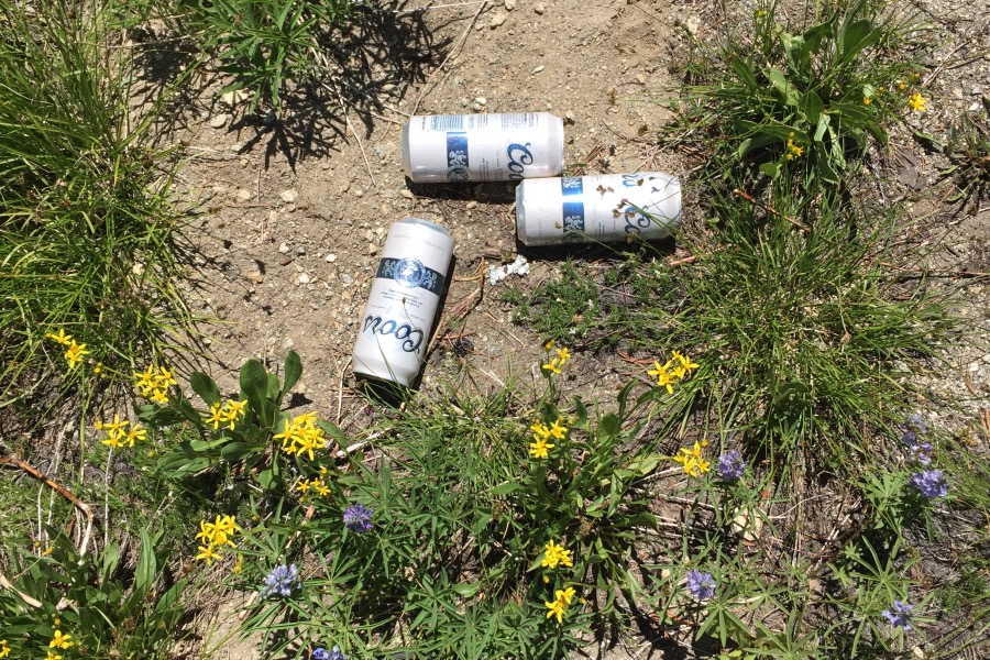 Three old, still full, pull top beer cans on the summit.