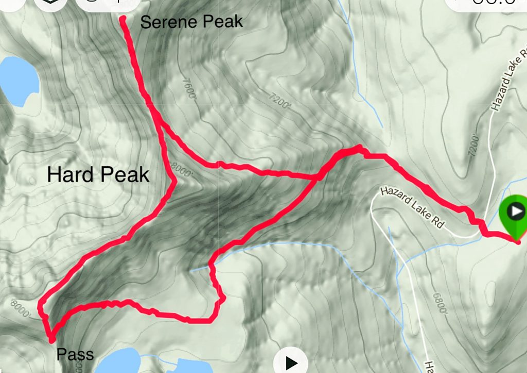 My GPS track for Hard and Serene Peaks.