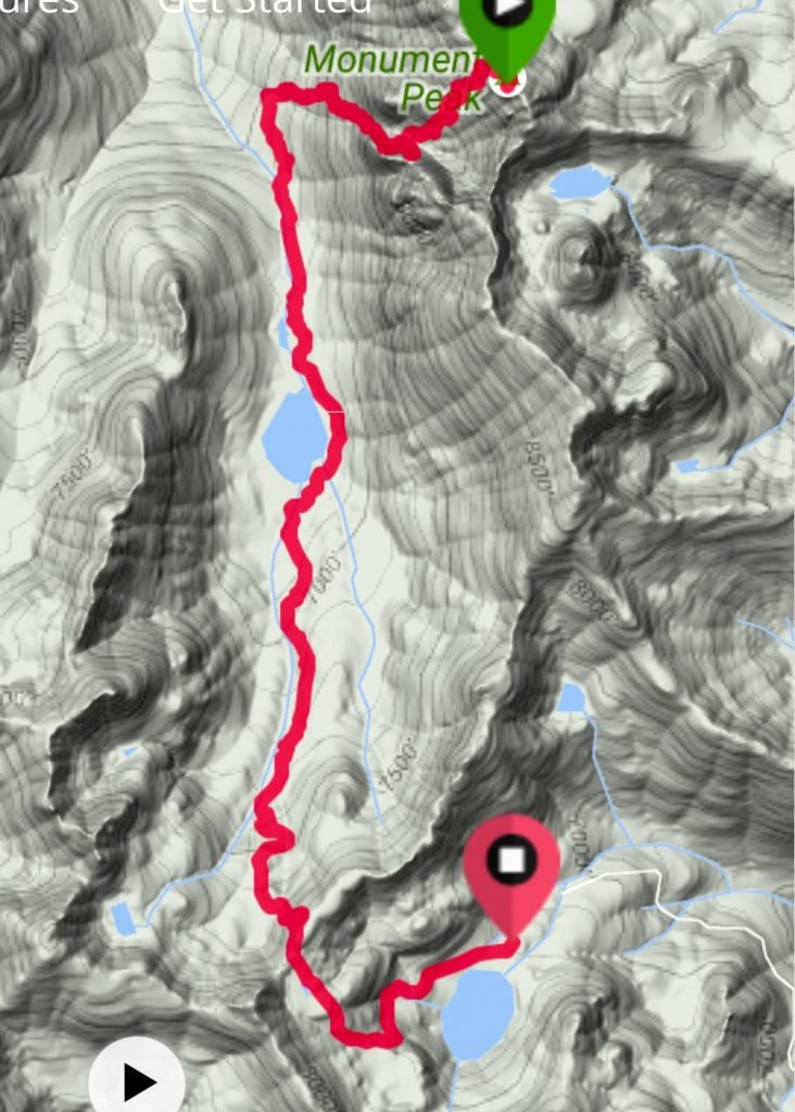My GPS track from Monument Peak to Black Lake.