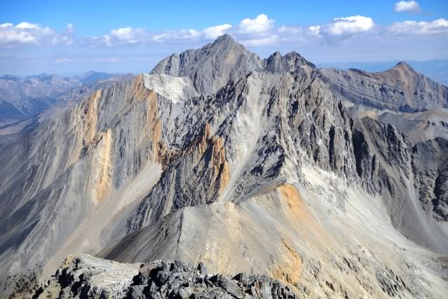 This photo was taken by Wes during his LRR traverse. Looking back to Borah from the summit of Idaho.
