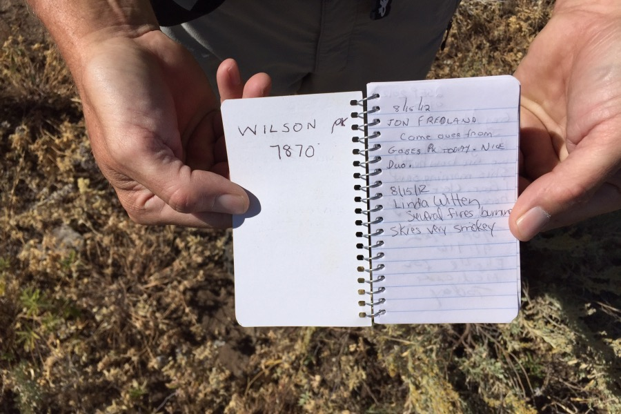 Jon Fredland's summit register.