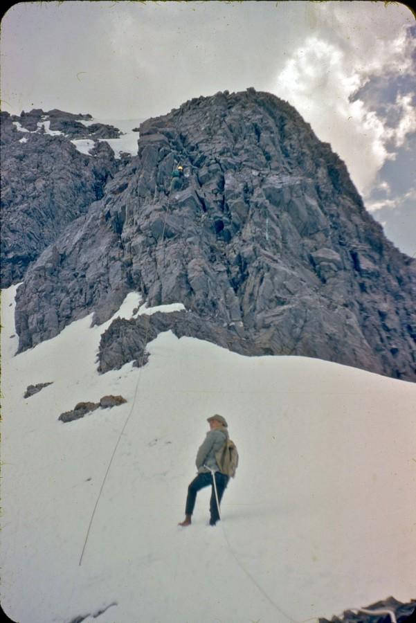 Wayne and Lyman on the 90-foot crux of the Northeast ridge. Photo - Lyman Dye