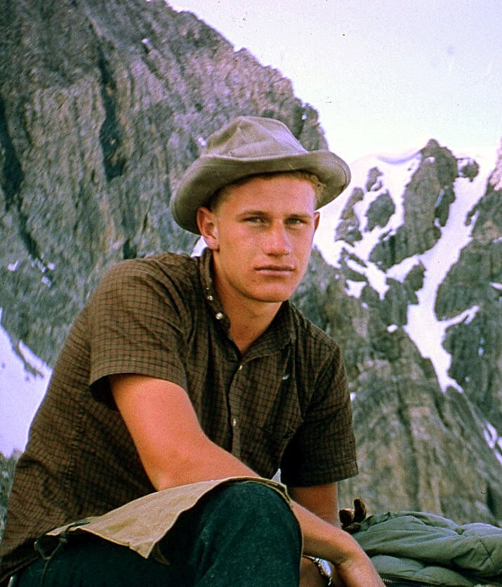 Wayne Boyer on the first ascent of Borah's east face in 1962. Lyman Dye Collection