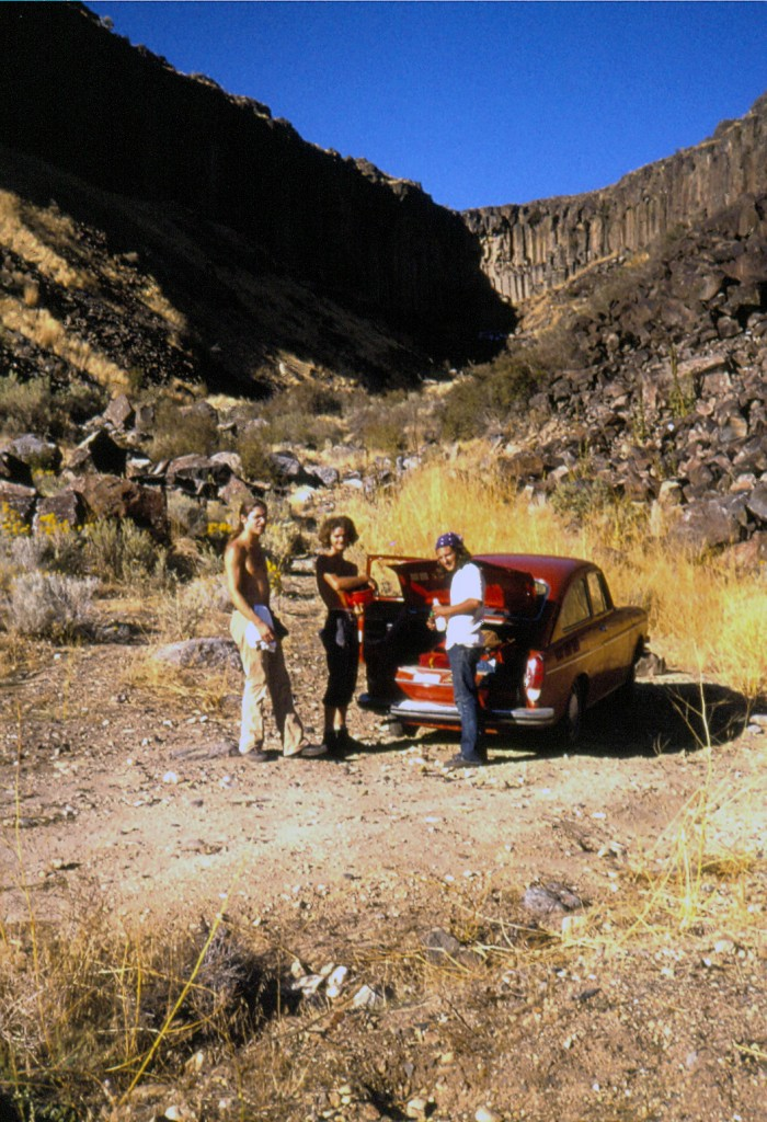 Guy Carson, Carl Sheets and Mike Weber posing for the camera in Car Body Canyon, Fall 1973