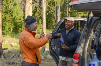 Tom and Gilbert Gallegos at a Sawtooth trailhead. Andrew Chiles Photo