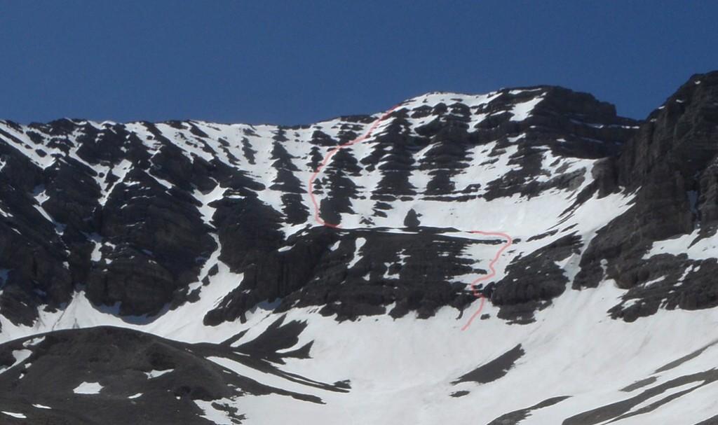 The north face of USGS showing the Platt Pahlas line of ascent. John Platt Photo.