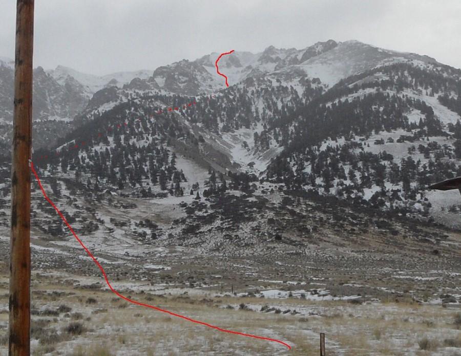 Mount Morrison. Platt and Duffey's winter ascent route.