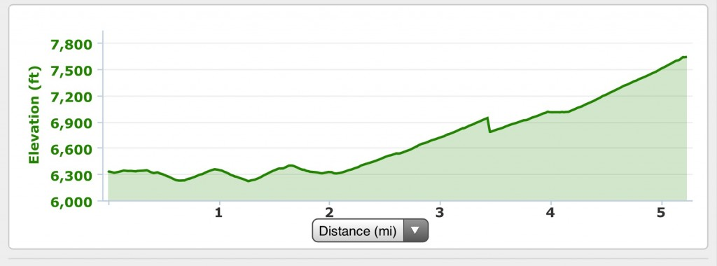 My elevation profile for the ascent.