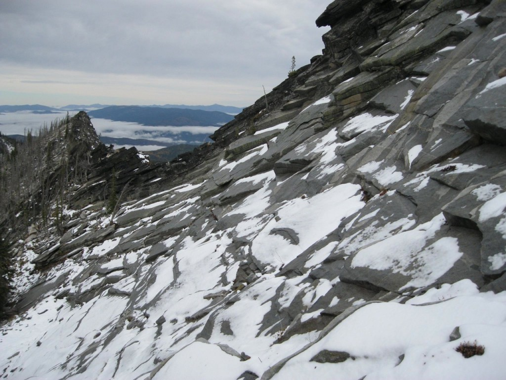 Some of the slabs on the way up - try to do this without snow! Dan Saxton Photo