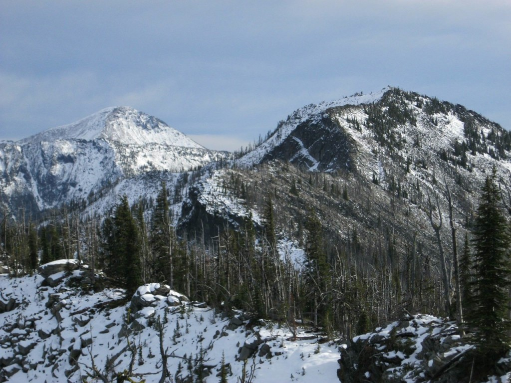Peak 8,261' from Rocky Point with Saint Joseph Peak in Montana at the left. Dan Saxton Photo