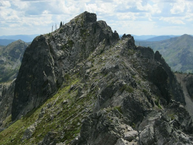 Shale Mountain's south summit from north summit - the route goes right up the middle. Dan Saxton Photo