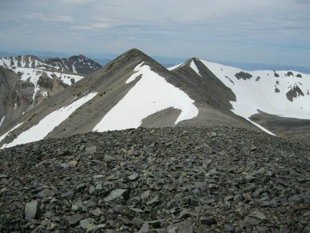 The peak of Long Mountain from the east end of the long summit ridge. Dan Saxton Photo