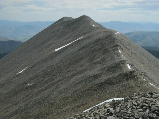 "Long Mountain's true summit from the point marked ""Long Mountain"" on the map. Dan Saxton Photo"