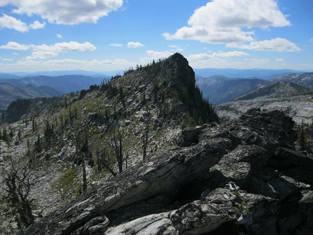 The west (true) peak of Saddle Mountain from the east peak. Dan Saxton Photo