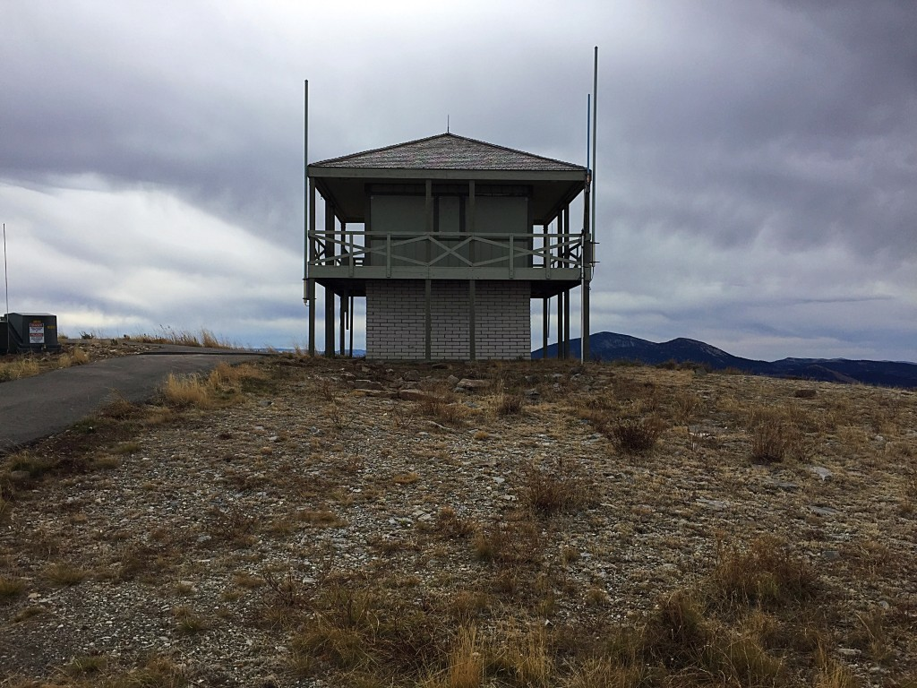 The lookout on the summit of Mount Harrison is active during the summer. The paved road sees a lot of use by cars and bicycles when it's not snow covered.