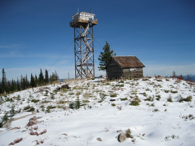 Bear Mountain lookout tower and cabin. Dan Saxton Photo