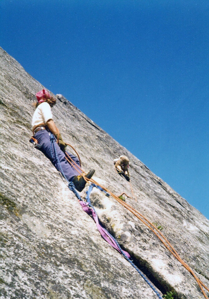 Mike Weber on belay and Frank Florence on lead. Slick Rock. Bob Boyles Photo