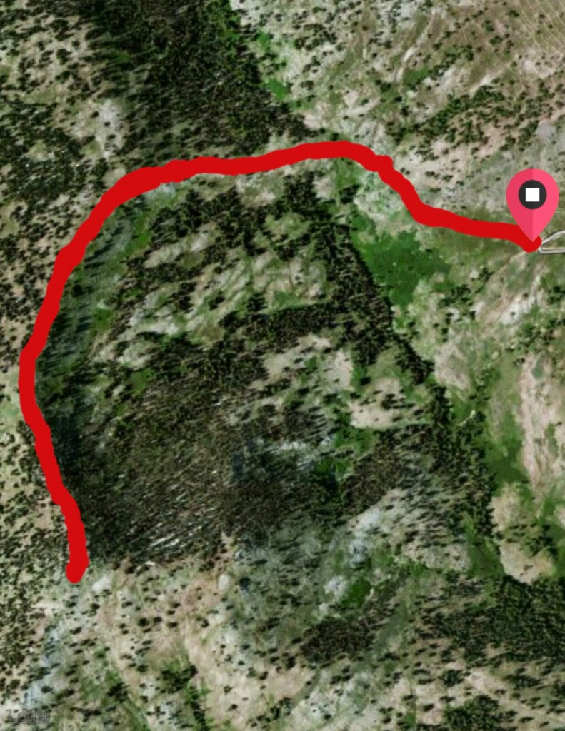 Here is a satellite view of the 3.0 mile round trip,route over to the summit from the road.