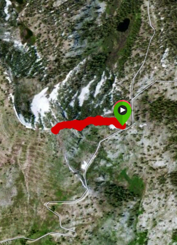 Here is a satellite view of the route up the east ridge.