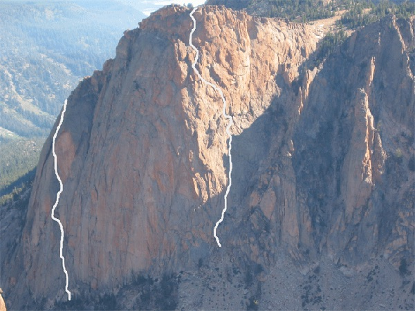 This photo shows the Mountaineers Route on the left and Astro Elephant on the right. Photo and Route lines by John Platt
