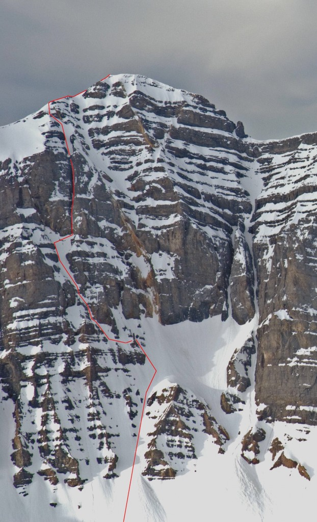 North Face of Mt Breitenbach showing the Grand Chockstone Route. Photo - Wes Collins