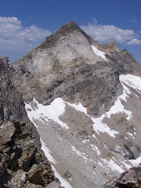 Abel from Rearing Stallion on 7/20/08, showing upper section of south ridge. My 9/17/94 ascent of Abel used the south ridge. Rick Baugher Photo and Commentary