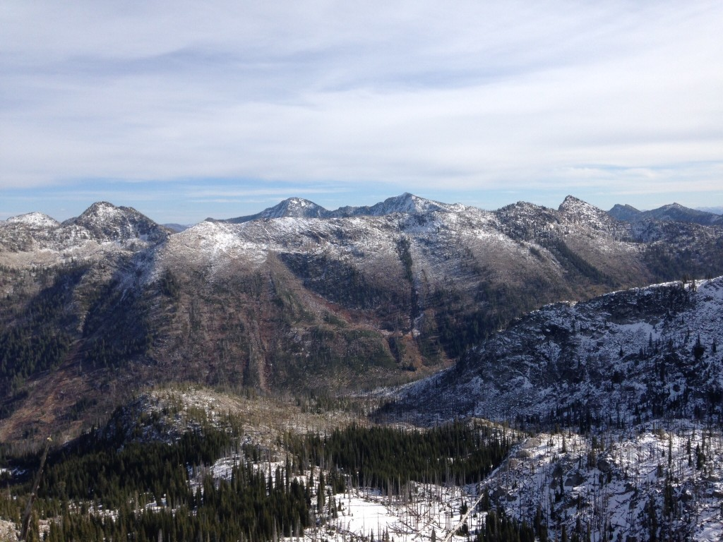 Looking west from the summit of Black Pearl Peak. Storm Peak is on the far left, North and South Loon are in the center and Lost Art Peak is the sharp point on the right.