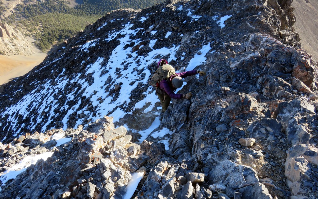 The upper ridge is a rocky rib. You should be able to find a Class 3 route up the ridge but keep in mind that there is a lot of Class 4 territory so be careful where you tread. Photo - Dan Paulson