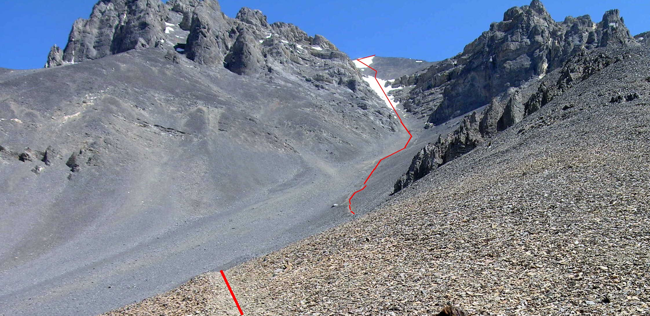Looking up the Super Gully. Note that in places a trail is developing through the talus. Photo - Dan Paulson
