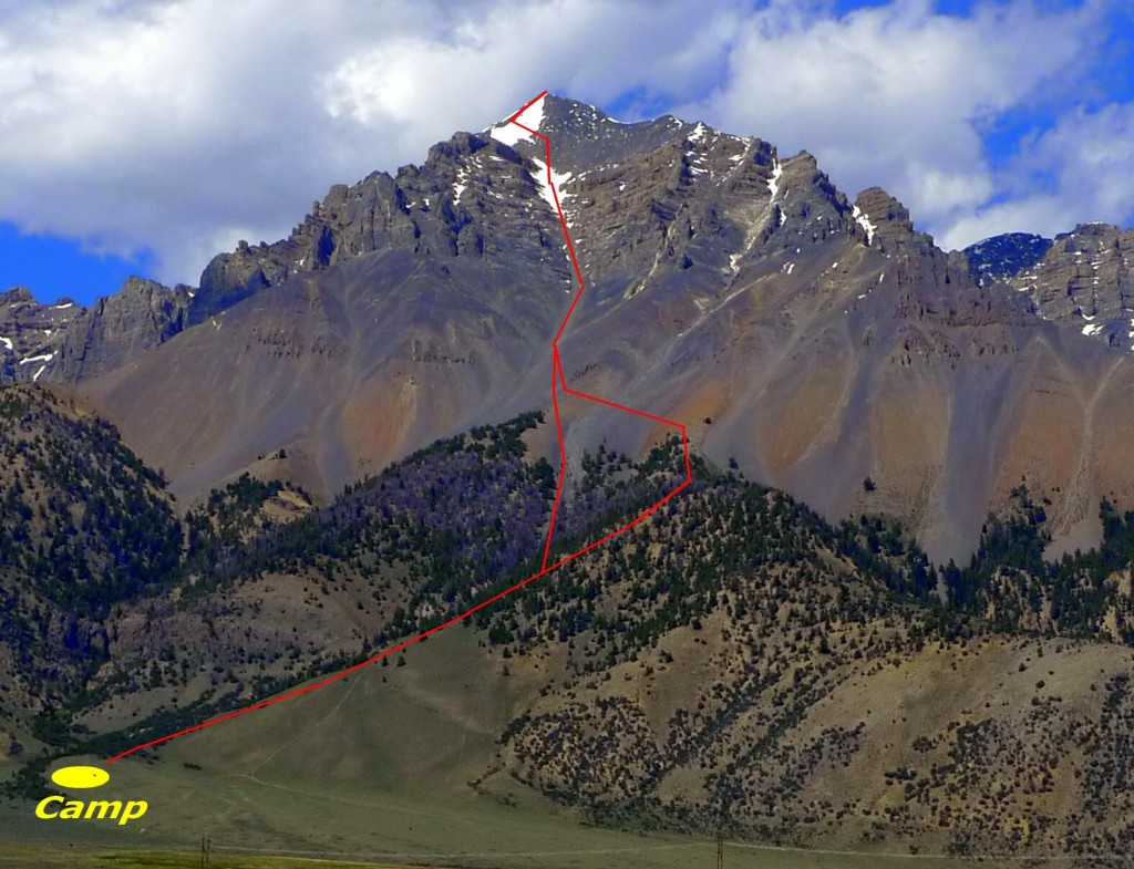 The Super Gully Route with a camping spot shown. Photo - Dan Paulson