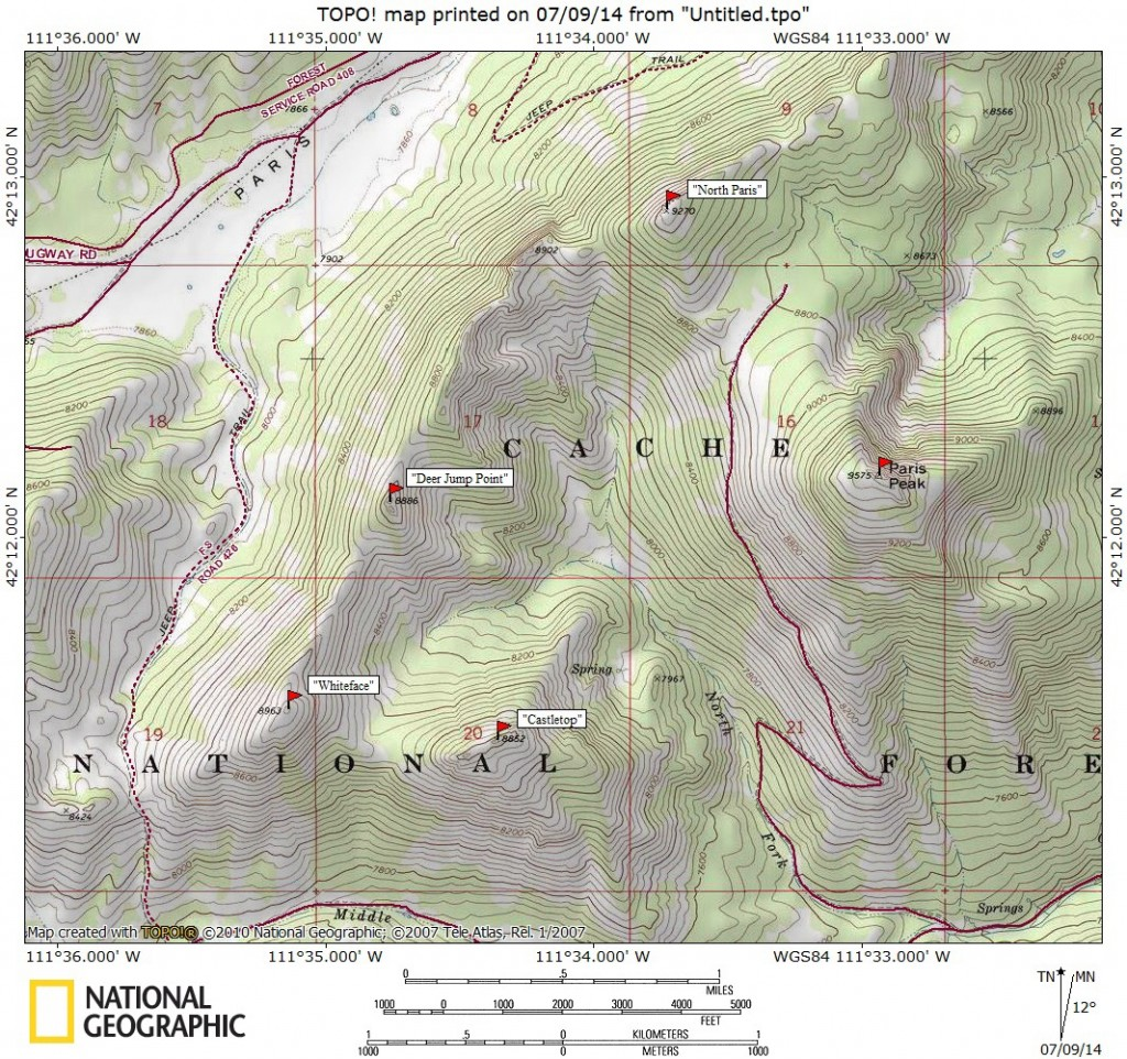 Map of Peaks in the northern reaches of the Bear River Range. Map by Matt Durrant