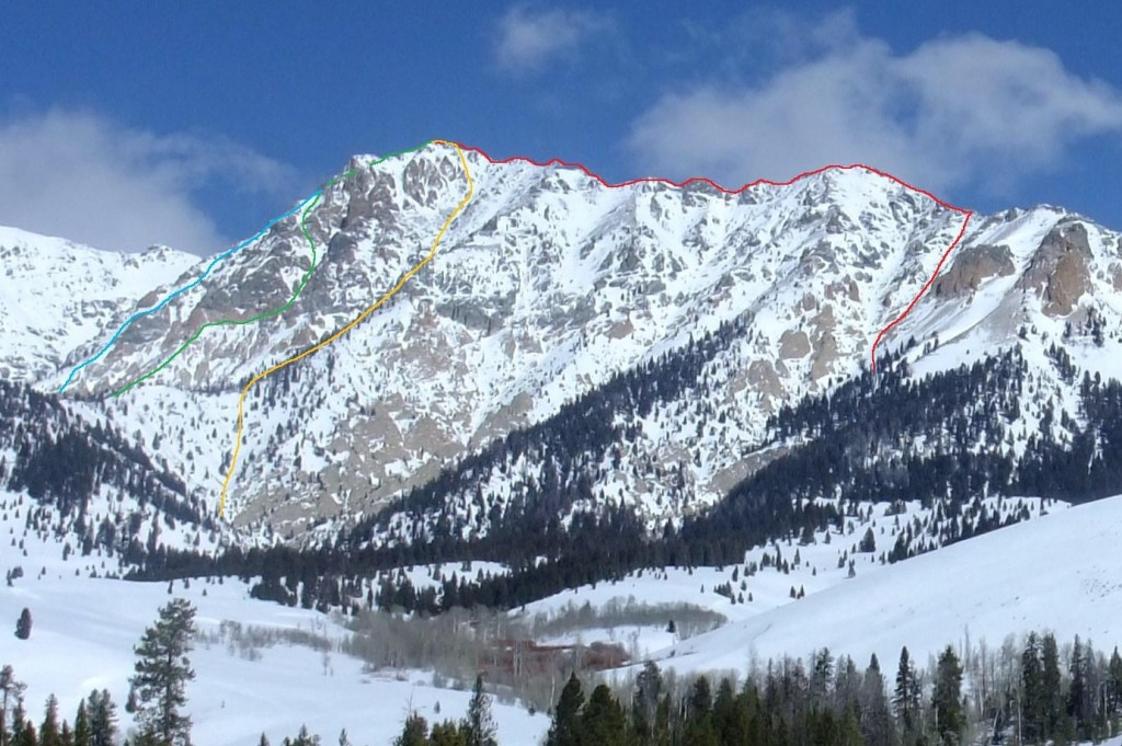 Bodacious Peak towers over ID-75. Route lines climbed by Pat Mcgrane.