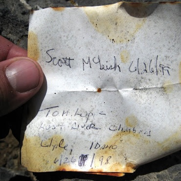 The note I left on the summit. George Rieneir Photo