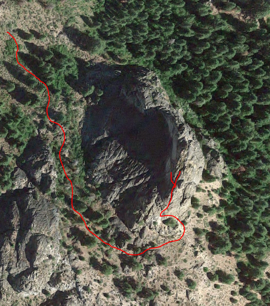 A Google Earth rendering of Castle Rock showing Dan Krueger's track.
