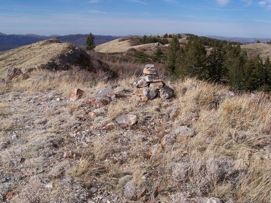 From the summit cairn of Chesterfield Range Highpoint this 11/3/11 view looks NW along the range crest. You would almost need a hand level to discern where the high point is located. Rick Baugher Photo