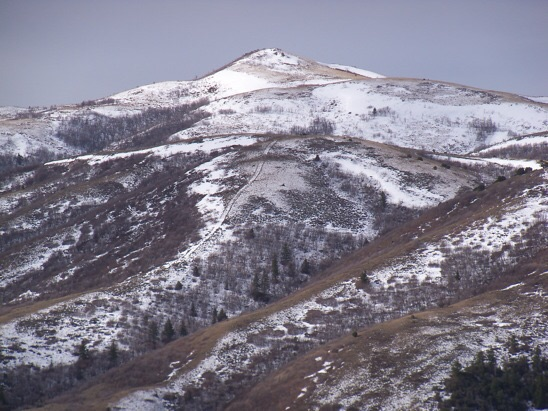 Idaho Malad Range HP 7047, east aspect from Dry Canyon, 3/28/12. Rick Baugher Photo